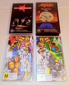 Lot-of-4-Heavy-Metal-VHS-Tapes-Metallica-Anthrax-Rage-Against-The-Machine