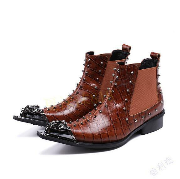 Uomo Stylish Embossed Leather Spike Metal Toe Elasticated Ankle Boots Shoes Sea1