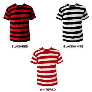 23a5204b Mens Black White Red Striped Stripe Stripey T-shirt Choose Colour ...