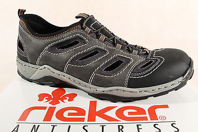 Rieker Slippers Sneakers Low Shoes Grey Soft Leather Insole 08065 New | eBay