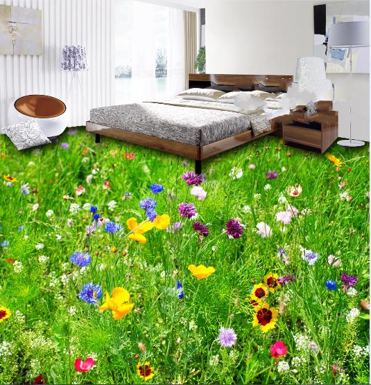 3D Farbe Flower Meadow 7 Floor WallPaper Murals Wall Print Decal AJ WALLPAPER US