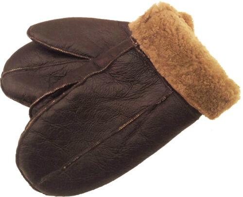 Genuine 100/% Real Sheepskin Leather Gloves Mittens Brown//Brown fur Unisex #7M
