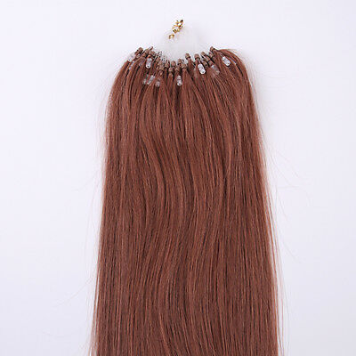 Grade AAA Loop Micro Rings Beads Tip Remy Human Hair Extension Straight 100s 200