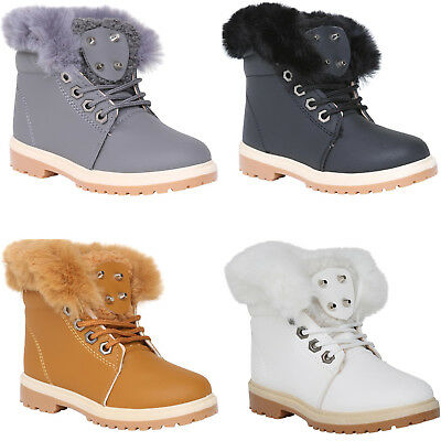KIDS ANKLE BOOTS GIRLS BOYS FUR LINED
