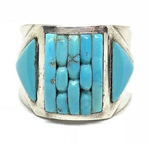 COBBLESTONE-Sterling-Silver-Turquoise-INLAY-CORNROW-Native-American-Ring-6-5-RL