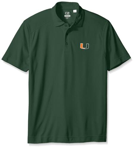 Men/'s Large Cutter /& Buck NCAA Miami Hurricanes Men/'s CB DryTec Genre Polo Tee