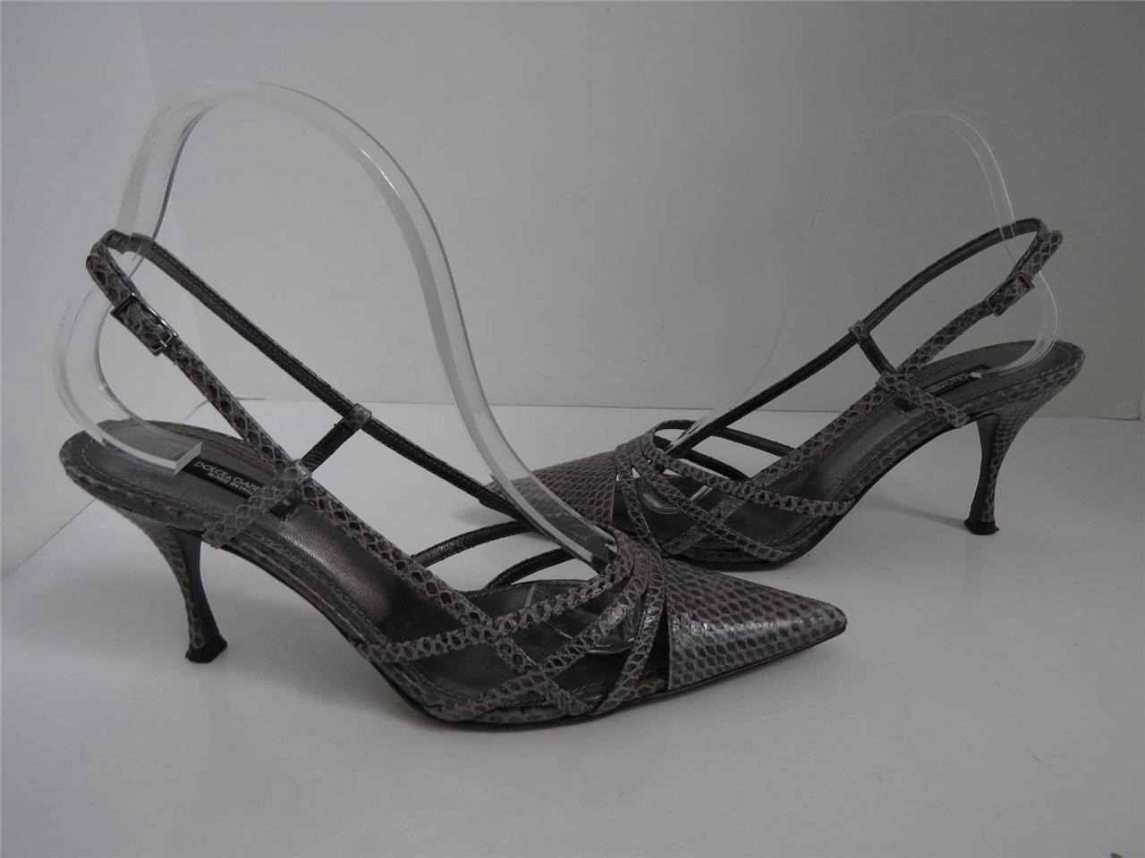 Dolce & Gabbana Grau Python Slingback/Heels/Schuhes Größe 38.5