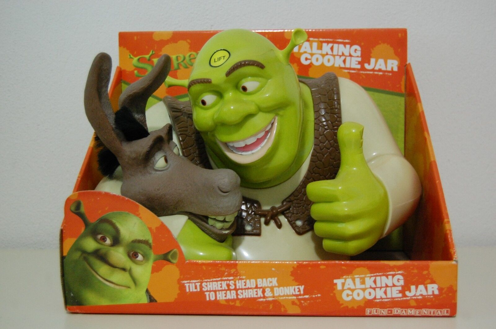 SHREK & DONKEY TALKING COOKIE JAR  DREAMWORKS-WORKS CLEAR SOUND 2004