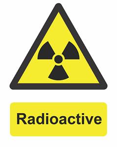 Danger Radioactive Risk Warning Self Adhesive Vinyl Gloss Sticker 125mm x 160mm