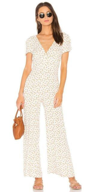 5f8153d373a5 NEW NWT Free People Mia Wide Leg Pant Jumpsuit Short Sleeves Ivory Size 10