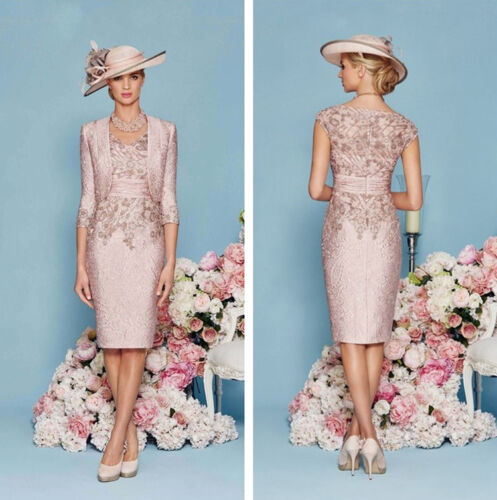 Nude Pink Mother of the Bride Dresses 2 PCS Outfit 3//4 Sleeve Knee Length Custom