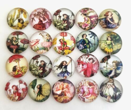 20 FAIRY CABOCHONS 12MM-GLASS//FLATBACK//CRAFT//GEMS-RETRO FAIRIES CABOCHON//VINTAGE
