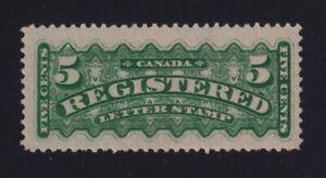 Canada Sc #F2i (1875-6) 5c green Registered Letter Stamp Mint F-VF NH MNH