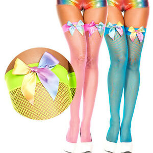 fc5c361cdb3 Image is loading Fishnet-Thigh-High-Stockings-Rainbow-MultiColor-Satin-Bow-