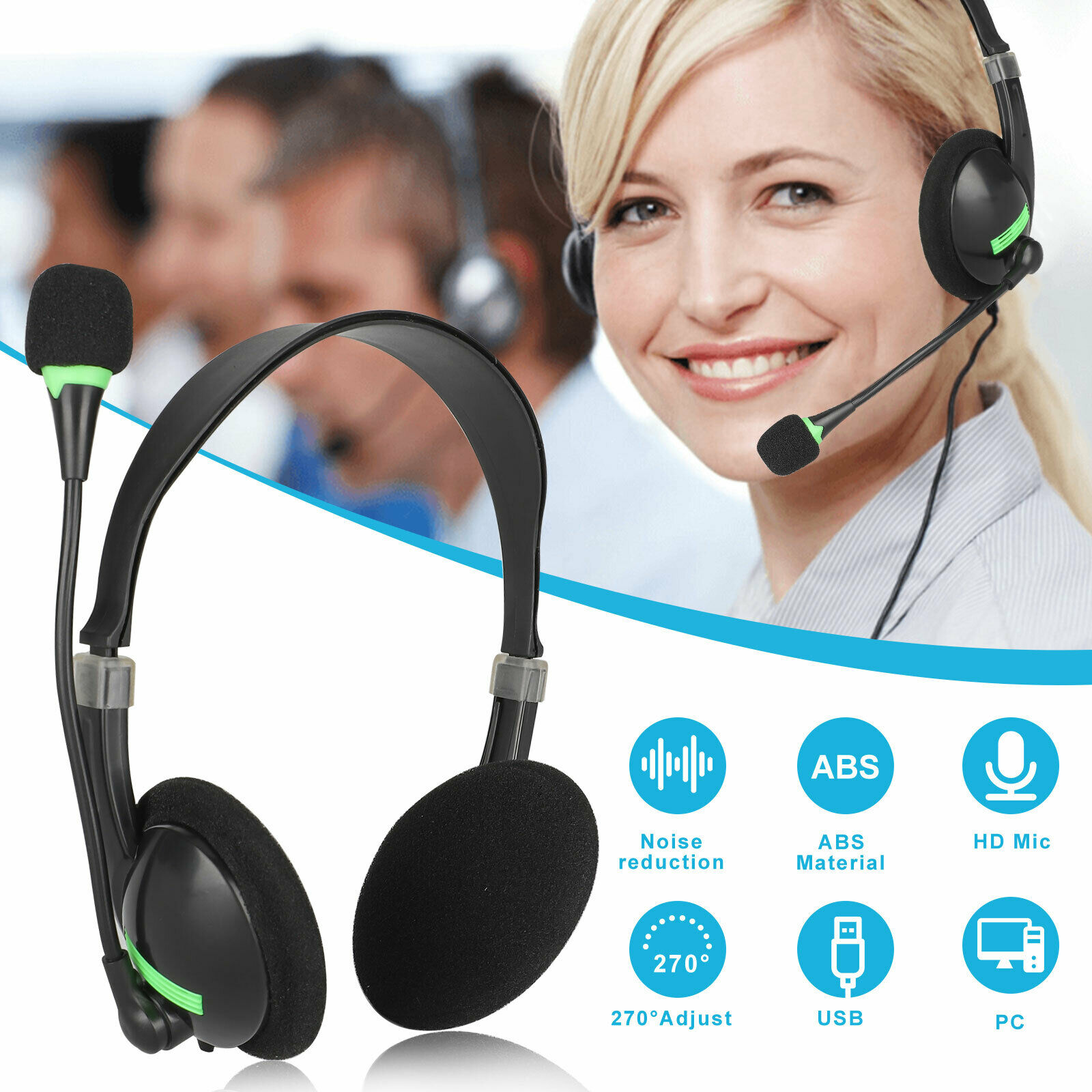 Mpow 071 Usb Headset 3 5mm Computer Headset Microphone Noise Cancelling For Sale Online Ebay