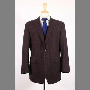 Samuelsohn 46R Brown Check Wool Two Button Sport Coat Blazer Jacket