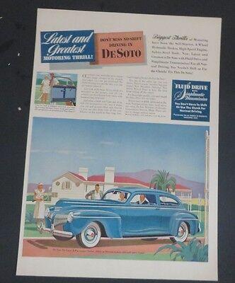 Original 1941 Print Ad Desoto De Soto Auto Vintage Art Sedan 6 Passenger Deluxe Fine Quality Advertising