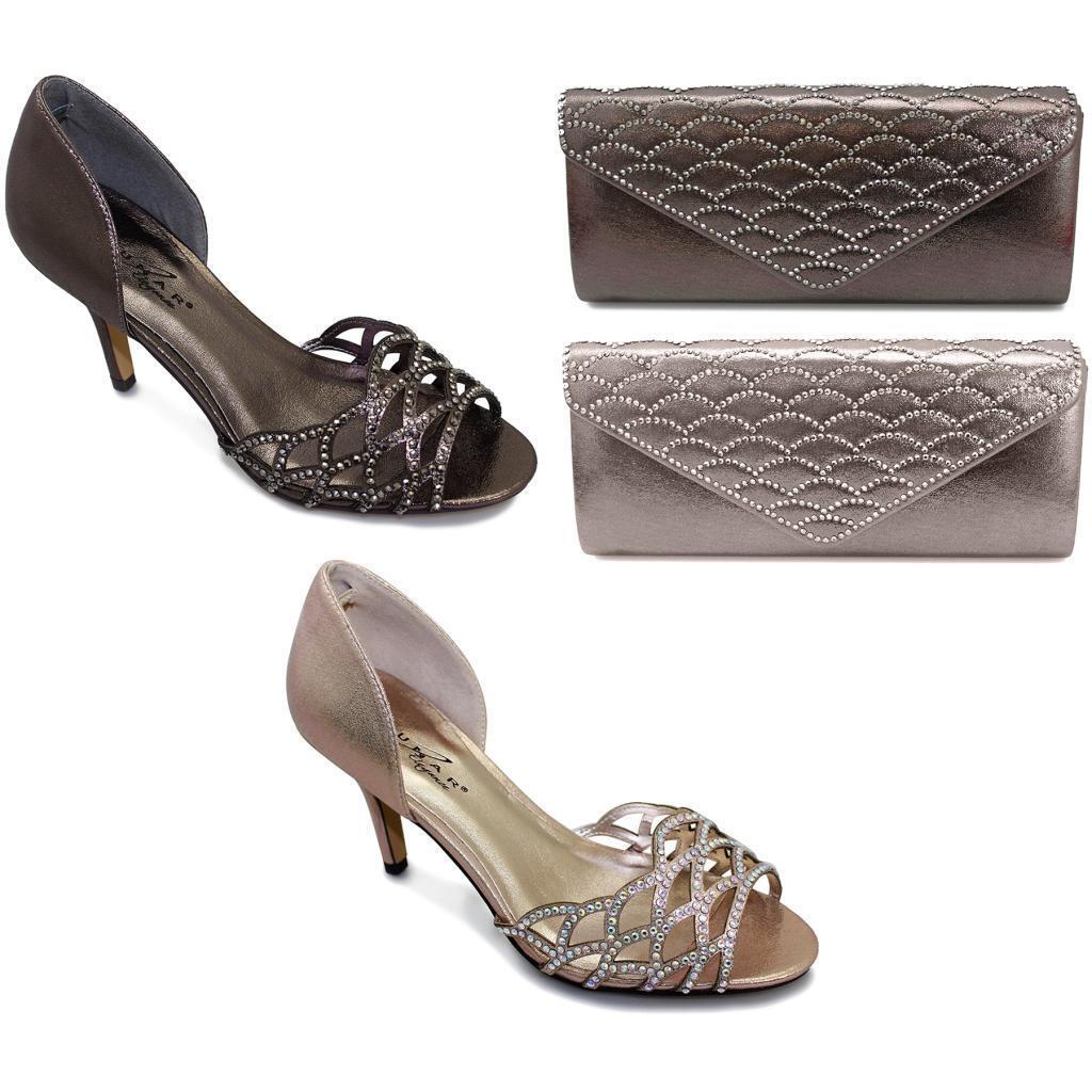 Da Donna Senza Spalline mocassini lucide Taglio Diamante Front onorevoli MID heels shoes