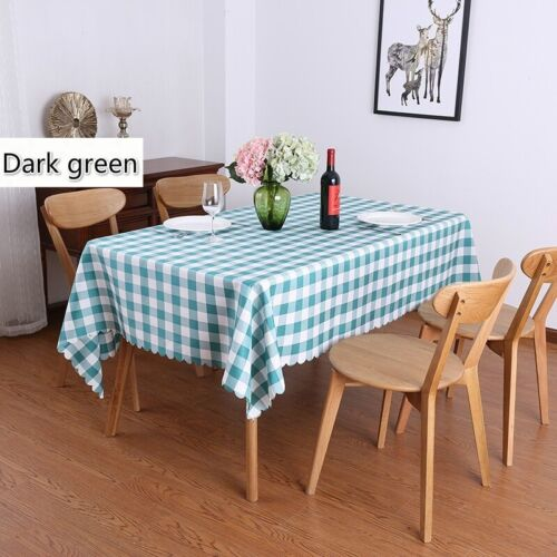 Checked Polyester Table Cloths Rectangular Banquet Dining Table Covers Pastrol