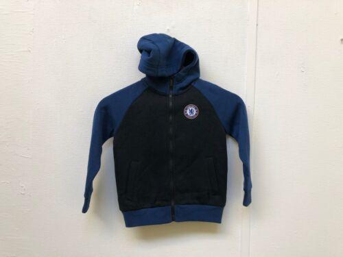 Chelsea FC Football Kid/'s Club Logo Zip Up Hoodie Black//Blue New 4-5 Years