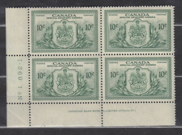1946 #E11 10¢ KING GEORGE VI SPECIAL DELIVERY PEACE ISSUE LL PLATE BLOCK #1 NH