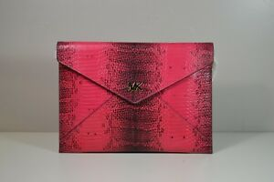 ceb87a8a9896 NWT MICHAEL KORS BARBARA ULTRA PINK EMBOSS LEATHER MD SOFT ENVELOPE ...
