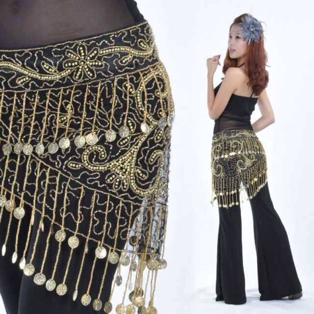 New Belly Dance Costume Crocheted Hip Scarf Belt Sequins & Golden Coins 3 Colors