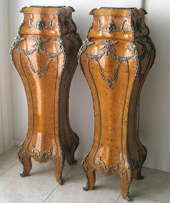 """HUGE PAIR ANTIQUE STYLE FRENCH LOUIS XVI ORNATE ORMOLU PEDESTALS 56"""" TALL"""