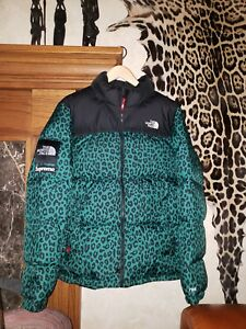 b9aeb51a5d Supreme North Face Leopard Nuptse Jacket Sz XL TNF Puffer Green