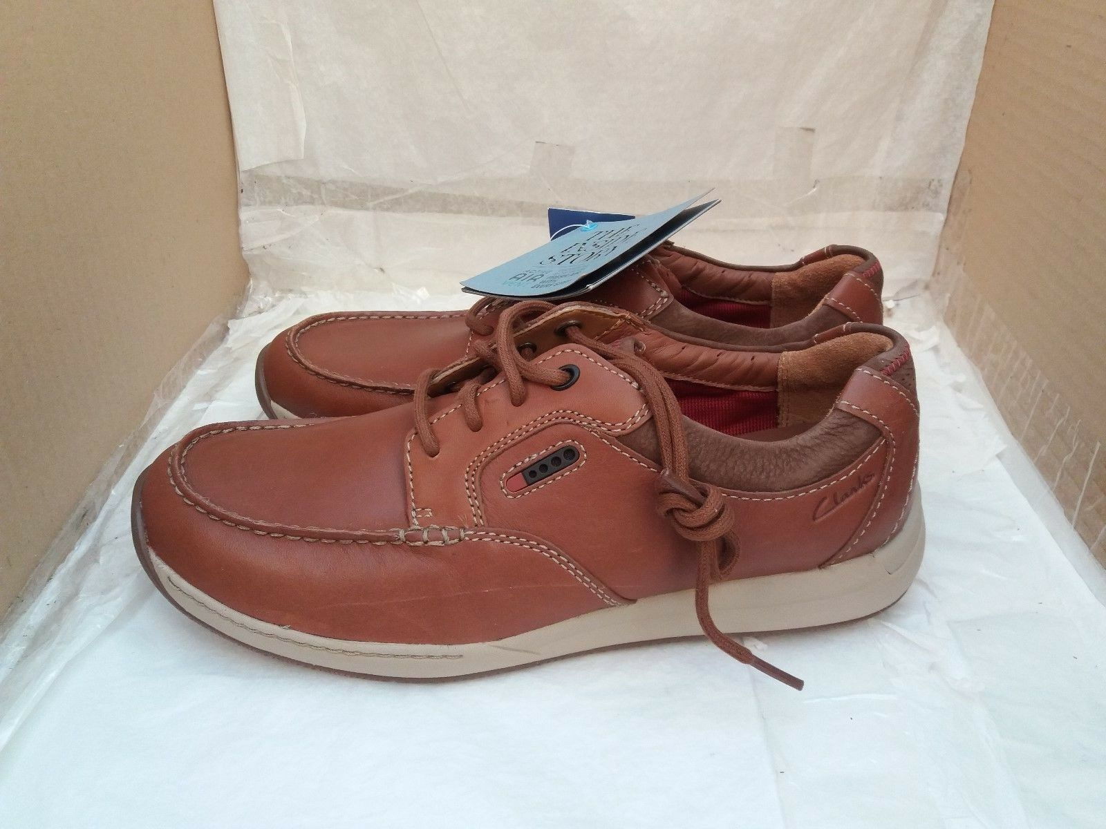 Clarks Javery Time Tan Leder Casual Up Lace Up Casual Schuhes With Actve Air Vent - UK 8H a3f478