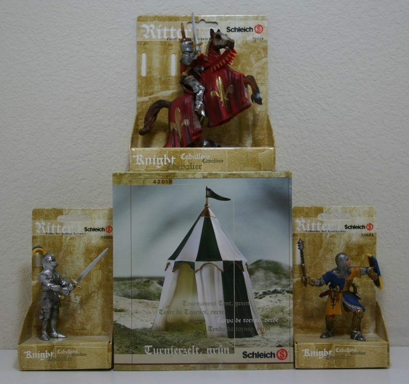 NEW SCHLEICH MEDIEVAL FIGURES LOT TOURNAMENT TENT MACE SWORD KNIGHT PRINCE HORSE