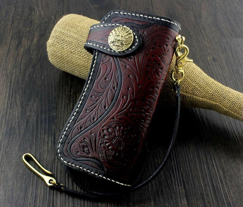 Leather Bifold Long Chain Wallet Dragon Vintage Biker Tooled Carved Tattoo Purse