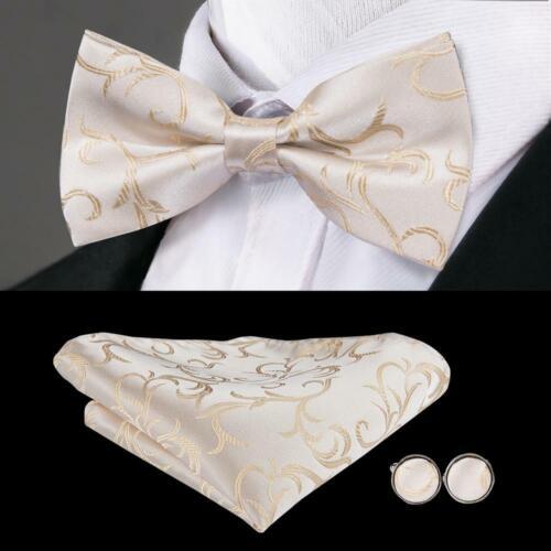 UK Mens Pre Bow Tie Silk Champagne Floral Bowtie Hanky Cufflinks Set Handmade