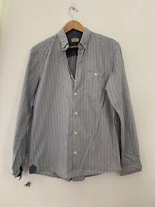 Chemise-homme-Next-M-a-rayures-bleu-a-manches-longues-Casual-en-coton-melange-lt-JJ13491z