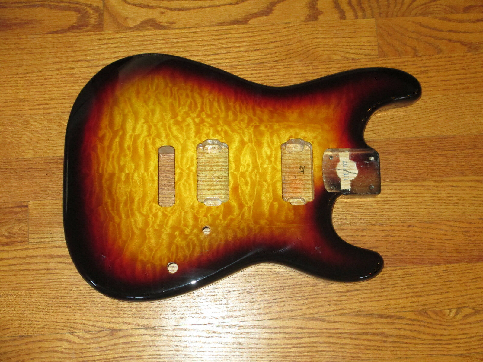 MIGHTY MITE BODY FITS FENDER STRATOCASTER 2 3 16th GUITAR NECK BURST QUILT TOP