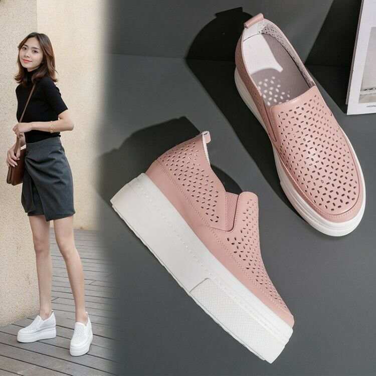 Search For Flights Womens New Fashion Leather Cutout Breathable Platform Court Shoes Loafers Qegs To Rank First Among Similar Products