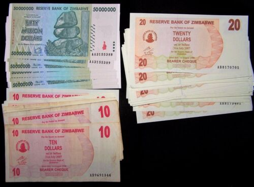 87 Zimbabwe banknotes-includes 9 x 50 million dollars-Circulated currency