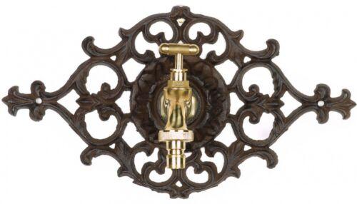 Nostalgie Wasseranschluss Zierrosette Eisen Wasserhahn Garten braun antik Stil