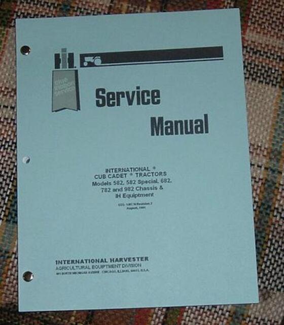 cub cadet 582 582s 682 782 & 982 service manual