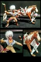 Papo Wild West Western Indian Figure Chief Pinto Horse 2pc Lot Eagle Feather