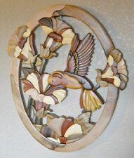 Hummingbird & Flower Intarsia Wood Art Oval  - Wood Decor Wall Hanging - NEW