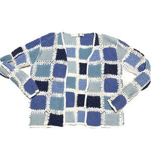 Vintage-Granny-Square-Crochet-Cardigan-Sweater-Womens-Small-Blue-Trendy-90s-Fall