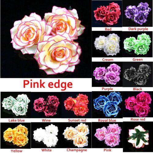 2//50Pcs 12cm Fake Artificial Cloth Rose Flower DIY Wedding Bulk Party Home Décor