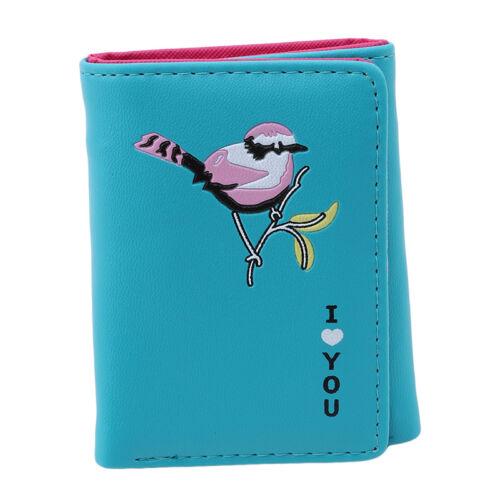 Women Wallet Embroidery Slim Small Purse Hasp Zipper Clutch Coin Card Holder N7