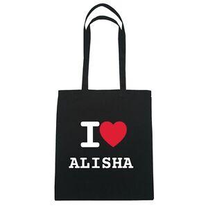 I love ALISHA - Jutebeutel Tasche Beutel Hipster Bag - Farbe: schwarz