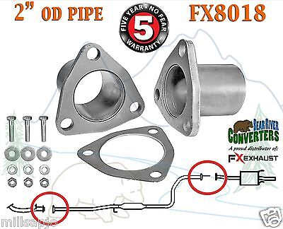 """FX8018 2"""" OD Universal QuickFix Exhaust Triangle Flange Repair Pipe Kit"""