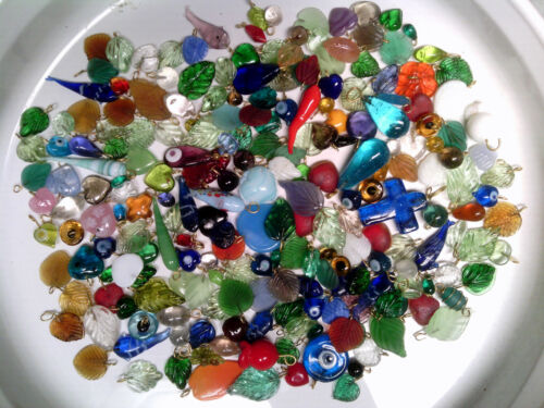 EVIL EYE variety HUGE LOT DANGLE BEADS with// findings LEAVES HEARTS HORNS