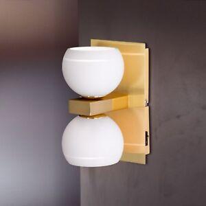 WOFI-lampara-de-pared-Lynn-2-luces-vidrio-BRONCE-BOLA-BLANCO-INTERRUPTOR-66