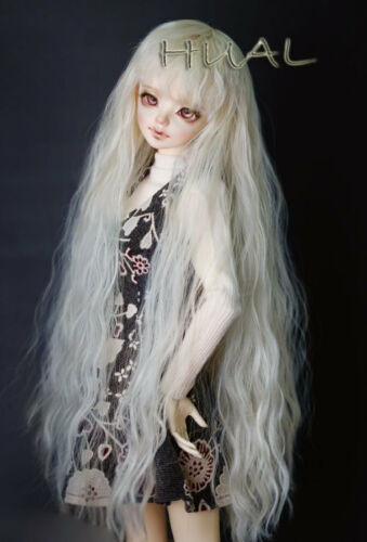 1/4 7-8 BJD Doll Wig Blond Tender Blonde Curly Wavy Fluffy Afro Hair Long UAL-d