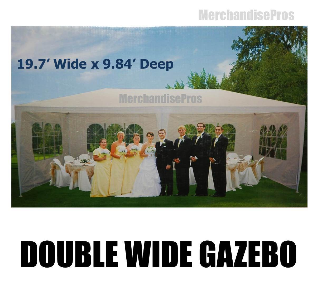 19 FT CANOPY DOUBLE WIDE GAZEBO SUN SUN GAZEBO SHELTER W/STEEL FRAME ASSEMBLY REQUIROT NEW 850dc9